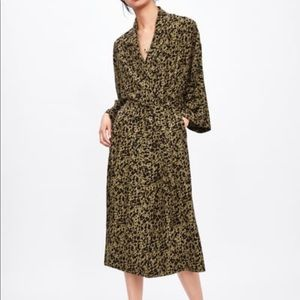 ZARA Flowy Animal Print Trench Coat XS